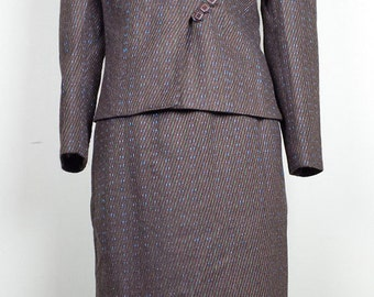 Vintage 80s Does 40s Skirt Suit Brown Wool Blend 9/10 XS S
