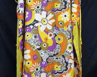 Vintage Hostess Wear Flower Power Maxi Tunic Top Sears At Home Wear