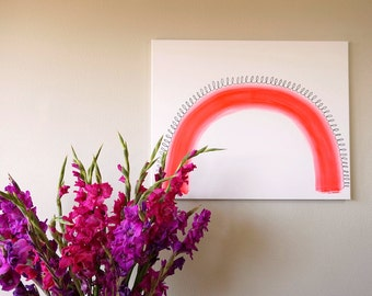 """Fluorescent Red Modern Rainbow Original Acrylic Painting on Canvas, Neon Red & White Arch, Large Abstract Modern Art Canvas Wall Art 24""""x30"""""""