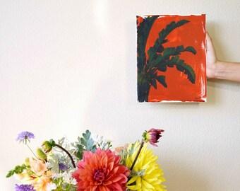 "Bird of Paradise Tropical Leaf Plant Decor Boho Wall Art, Palm Leaf Acrylic Painting on Canvas, Terracotta Orange Boho Gift for Her 8""x10"""