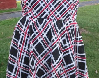 Vintage , retro  Lorch of Dallas, red, black, white plaid dress, size small.
