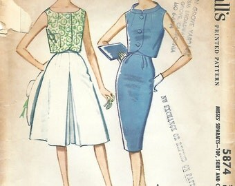 1960s McCall's 5874 Vintage Sewing Pattern Misses Sleeveless Top, Pencil Skirt, Culottes Size 12 Bust 32