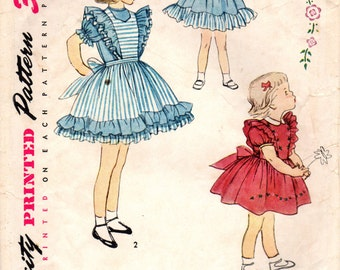 1950s Simplicity 3726 Vintage Sewing Pattern Girl's Party Dress and Pinafore Size 6