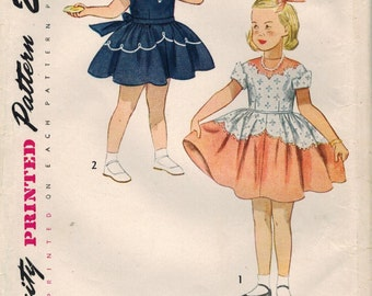 1950s Simplicity 3179 UNCUT Vintage Sewing Pattern Girls Party Dress, Formal Dress, Heirloom Dress Size 6