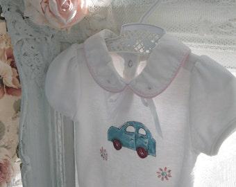 Upscaled Baby Clothing, Upscaled, Baby Onesie, Sleeper, Painted, Car, Upscaled, Altered, Shower Gift, Baby Gift, by enfantjoli on etsy