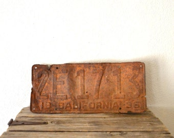 1936' Rusty California Licence Plate