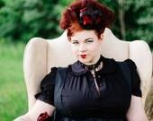Plus Size Gothic Lolita Blouse - Steampunk Top Black - Cotton Peter Pan Collar-Custom 2X-Above