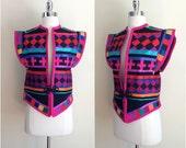 Vintage ethnic vest jacket / Colorful patchwork jacket / folk art vest / Fiesta mi lado