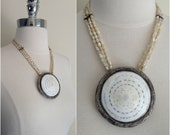 1950's sterling silver shell medallion necklace / Vintage pearl and shell pendant necklace / shell medallion statement necklace