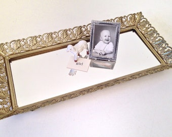 vintage mirror tray - brass vanity tray - Hollywood Regency