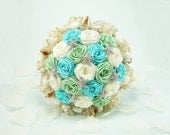 Ocean Waves, Wedding Bouquet, Bridal Bouquet - Beach Wedding, Summer Wedding, Seashell Bridal Bouquet, Origami Bouquet