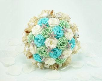 Ocean Waves, Wedding Bouquet, Bridal Bouquet - Beach Wedding, Summer Wedding, Beach Bridal Bouquet, Origami Bouquet, Seashell Bouquet
