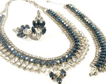 Vintage Sapphire Blue and Crystal Rhinestone Jewelry Parure Necklace Bracelet Earrings Designer Unsigned