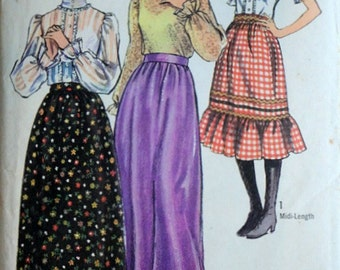 Junior Petites' Skirt In Two Lengths And Blouse, Simplicity 9079 Vintage 70's Sewing Pattern, Size 13jp, Bust 35, Boho