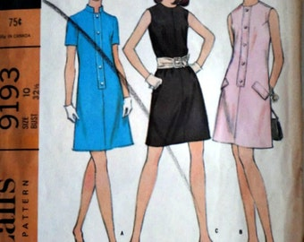 Vintage 60's McCall's 9193 Sewing Pattern, Misses' A-Line Dress in Three Versions, Size 10, 32.5 Bust, Mad Men Mod 1960's Fashion