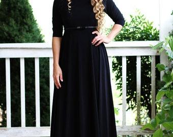 LillyAnnaLadies Noir GRACE Black  Dress LALA Modest