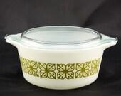 Square Flowers (Verde) Pyrex Cinderella Casserole Dish - White with Olive Green Square Flowers - Medium 1.5 Quarts #474-B
