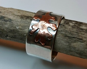 Tattered Oak Leaf Ring, Sterling, Copper, Open Band Cuff, Fall Oak Leaves, Autumn, Nature, Earthy, Wearable Art, Metalwork, Metalsmith