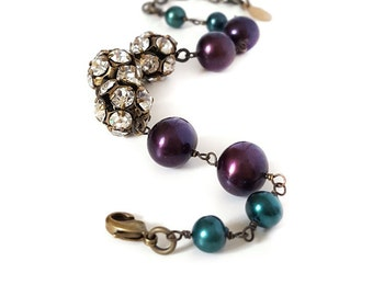 Rhinestone and Pearl Bracelet, Plum and Teal Freshwater Pearls, Purple, Brass, Autumn, Fall, Wedding Bracelet