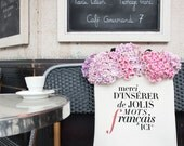 """French Tote Bag """"Mots"""" Funny Canvas Totes Pockets, Book Bag"""