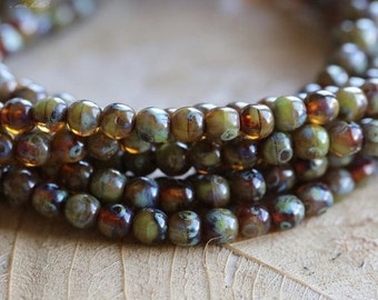 TORTOISE MARBLES 4mm .. 50 Picasso Czech Druk Glass Beads (4834-st)