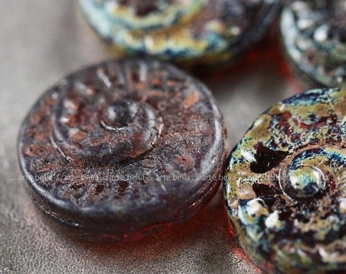 TOPAZ SPIRALS .. 4 Picasso Czech Spiral Fossil Glass Beads 18mm (4024-4)