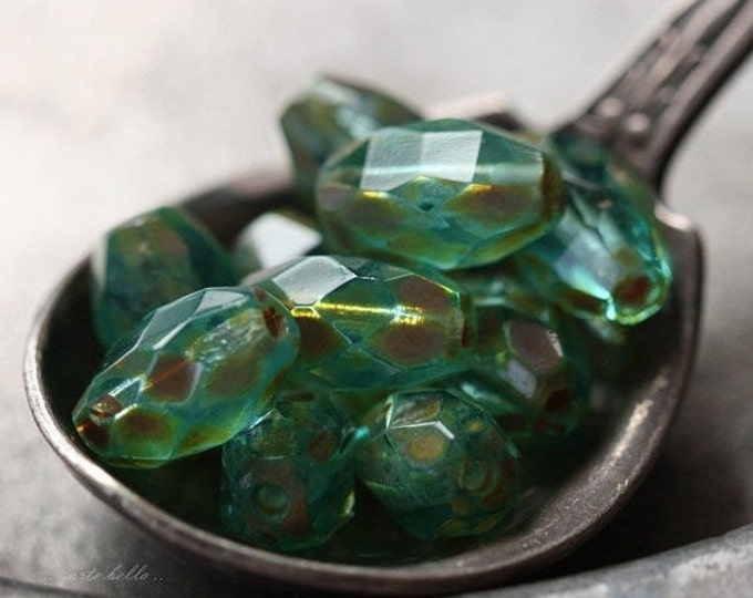 FRESH .. 10 Premium Picasso Czech Faceted Glass Beads 6x9mm (4505-10)