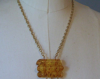 Vintage Acrylic Amber Necklace, Art Deco Style Necklace, Geometric Aseemblage Jewelry