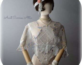 Pastel Lace Shawl Shrug Downton Abbey Style Lady Mary Clothing 1920s Flapper Era Clothing