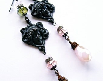 Aphrodite Goddess Earrings Crystal Beads Dark Brass Patina Victorian Goth Noir Dangle Art Nouveau Cottage Chic Handmade by Spinning Castle