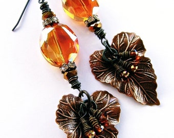 Victorian Lily Leaf Earrings Dangle Orange Peach Copper Crystals Woodland Wedding Fairy Bridal Garden Romantic Handmade by Spinning Castle