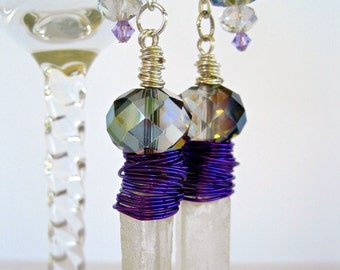 Frosted Quartz Crystal Point Earrings Silver Long Dangle Shoulder Dusters Wire Wrapped Purple Iridescent IRIDESSA by Spinning Castle