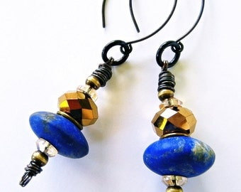 Lapis Lazuli Long Dangle Earrings Gold Metallic Crystal Beads Boho Gypsy Bohemian Chic Gemstone PHARAOH'S TREASURE by Spinning Castle