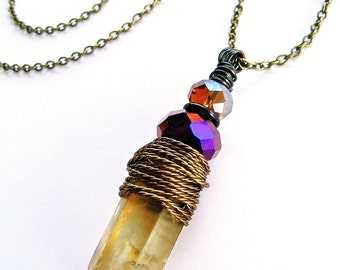 Raw Smoky Quartz Long Necklace Wire Wrap Pendant Crystal Beads Boho Chic Pagan Priestess Rustic Fashion BRIGHID'S EMBER Spinning Castle