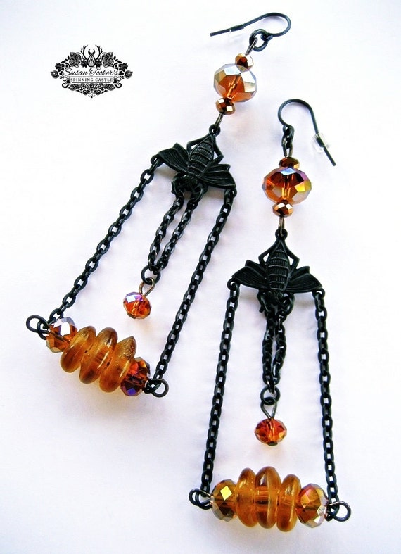 Bee Victorian Dark Patina Earrings African Recycled Glass Gold Bead Boho Gypsy Chic Honeybee Chandelier Dangle by Spinning Castle