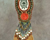 Necklace, bead embroidery, beaded, turtle, scrimshaw, green, brown necklace