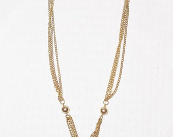 1970s Vintage Multi Gold Chains and Balls Necklace