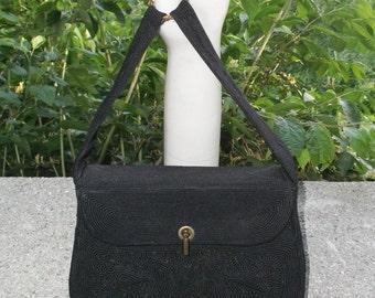 1940s Vintage Black Corde Purse Handbag by Cordecraft