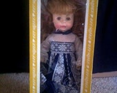 """Vintage Effanbee Doll in Original Box with Hand Tag . 15"""" Lil Susie Sunshine . 1970s Blonde Hair Blue Eyes"""
