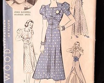 Vintage 1930s Hollywood Dress Pattern JOAN BLONDELL One Piece Frock/Beach Coat 1520 Size 20 Bust 38 Hip 41 Unprinted Pattern Pieces Precut.