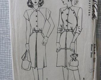 "1940s Dress - 30"" Bust - McCall 6319 - Vintage Sewing Pattern"