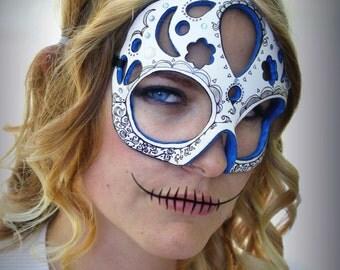 Dama de Sombras - Calavera -Inspired Masquerade Mask in Blue and White Papier-Mache Clay