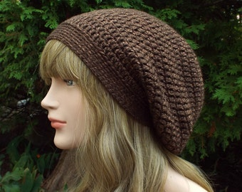 Hickory Brown Slouchy Beanie, Womens Crochet Hat, Slouch Beanie, Oversized Hipster Hat, Slouch Hat, Baggy Beanie, Slouchy Hat