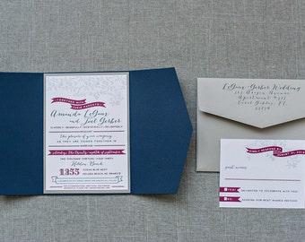 Navy Blue and Raspberry Rustic Floral Wedding Invitations | Amanda & Joel