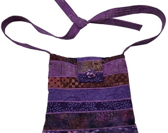 Large Cross Body Hip Purse in Dark Purple Batik
