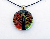 Tree of Life Fused Glass Pendant Necklace Sunset Gold