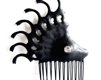 Black hair comb Gothic Clock hand evil queen claws distressed  black w crystal ornate hair Ornament perfect for steampunk tea party or bride