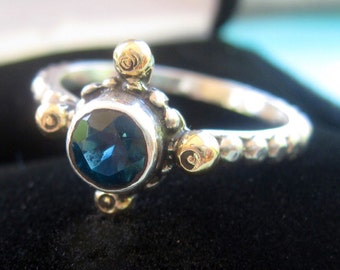 Beautiful London Blue Topaz ring - handmade sterling silver with 14k gold accents - ring size 7 1/4 to 7 3/4