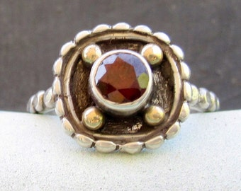 Stunning red Garnet ring handmade in sterling silver + 14 karat gold - January birthstone- Size 6 1/2 to 7
