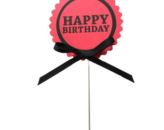 Birthday Cake Topper Decoration, Candy Pick, Red and Black or Your Choice of Colors